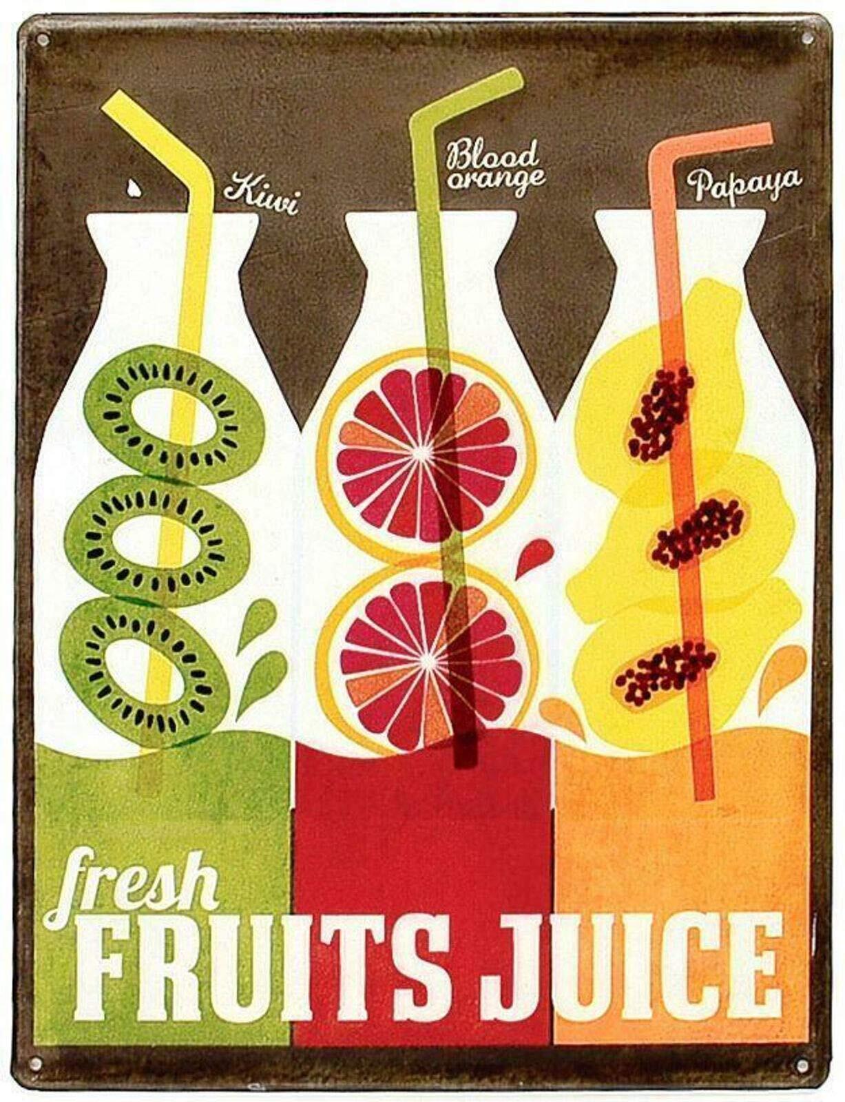 Kiwi Orange Papaya Fresh Fruits Juice Cafe Tin Sign Board Home Decoration Nostalgic Vintage Retro Poster Dimensions 20x30 cm