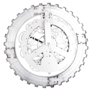 Metall Big Gear Wanduhr Weiß