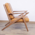 Waxy leather wooden Selig lounge chair