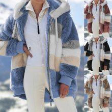 2021 Oversized Winter Women Jacket Fashion Plush Patchwork Zipper Pocket Hooded Jacket Retro Loose Long Sleeve Women's Coat