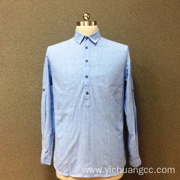 Men's cotton blue yarn dyed long sleeves shirt