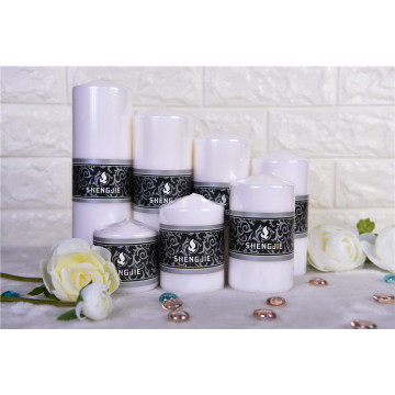 White or Colored Shinny Pillar Candle
