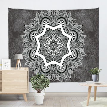 Bohemian Tapestry Wall Hanging Mandala Indian Boho Hippie Grey Wall Tapestry Psychedelic for Livingroom Bedroom Dorm Home Decor