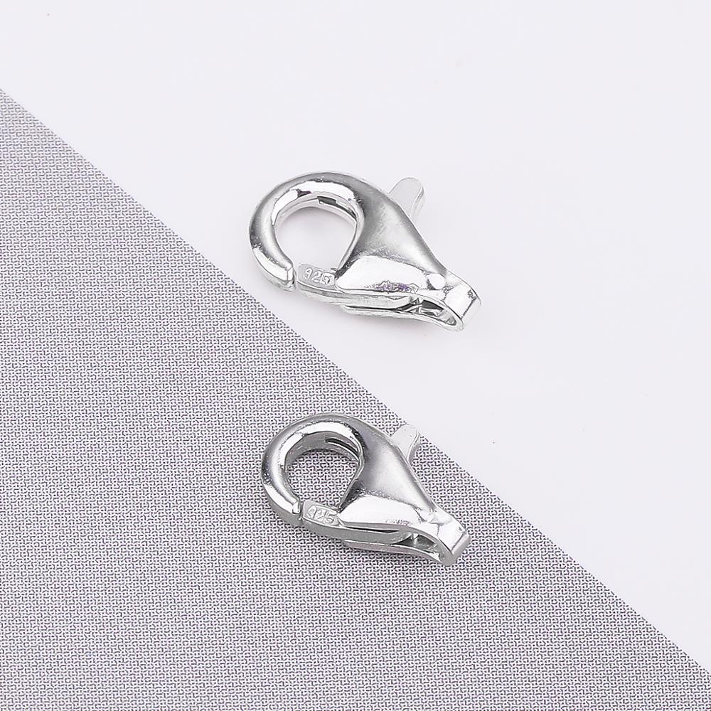 925 Sterling Silver Findings Lobster Clasp Hooks 2pcs/lot 8mm 9mm End Connectors For DIY Jewelry Making Findings Accessories