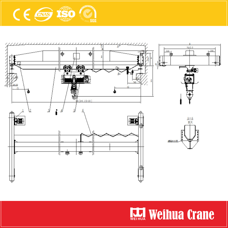 Single Girder Overhead Crane With Metallurgy Hoist