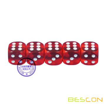 "3/4"" (19 mm) Round Red Transparent Casino Dice"