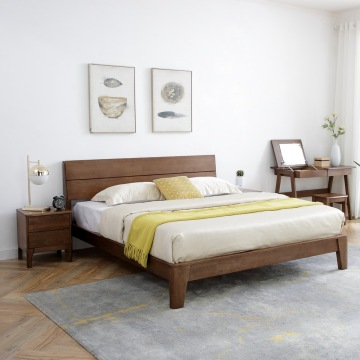 Madilim na Walnut Solid Rubber Wood Bedroom na may aparador