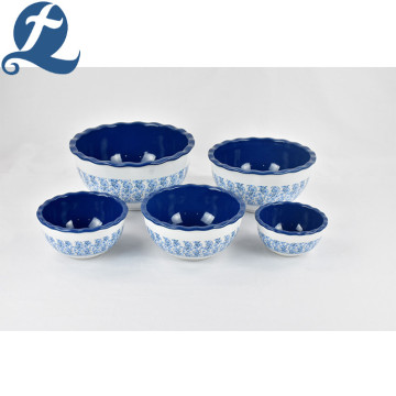 Exquisite Printing Blue Lotus Leaf Bowl Set