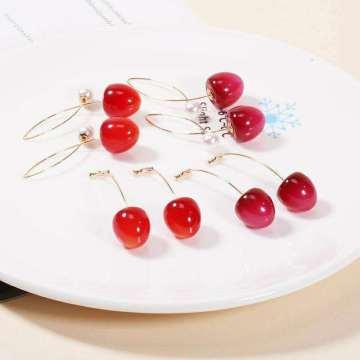 Korea Multiple Styles Small Fresh Cherry Drop Earrings Women White Elegant Imitation Pearl Dangle Earring Fashion Female Jewelry