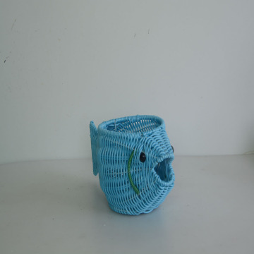 blue plastic rattan weaving handicraft pot
