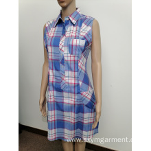 Ladies polyester print sleeveless shirt dress