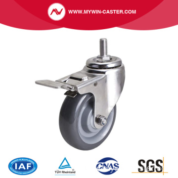 Stainles 4 Inch 100Kg Threaded Brake PU Caster