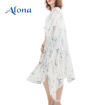 Bohemian printed women kaftans floral beach cover up