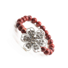 Red Jasper 8MM Round Beads Stretch Gemstone Bracelet with Diamante alloy Flower Piece