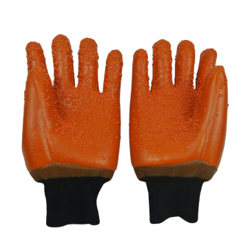 Brown PVC coated gloves PVC Chips on palm