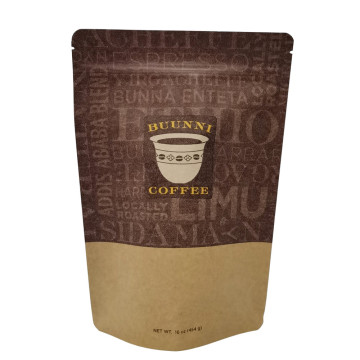 Heat seal stand up kraft paper coffee packing pouch with valve