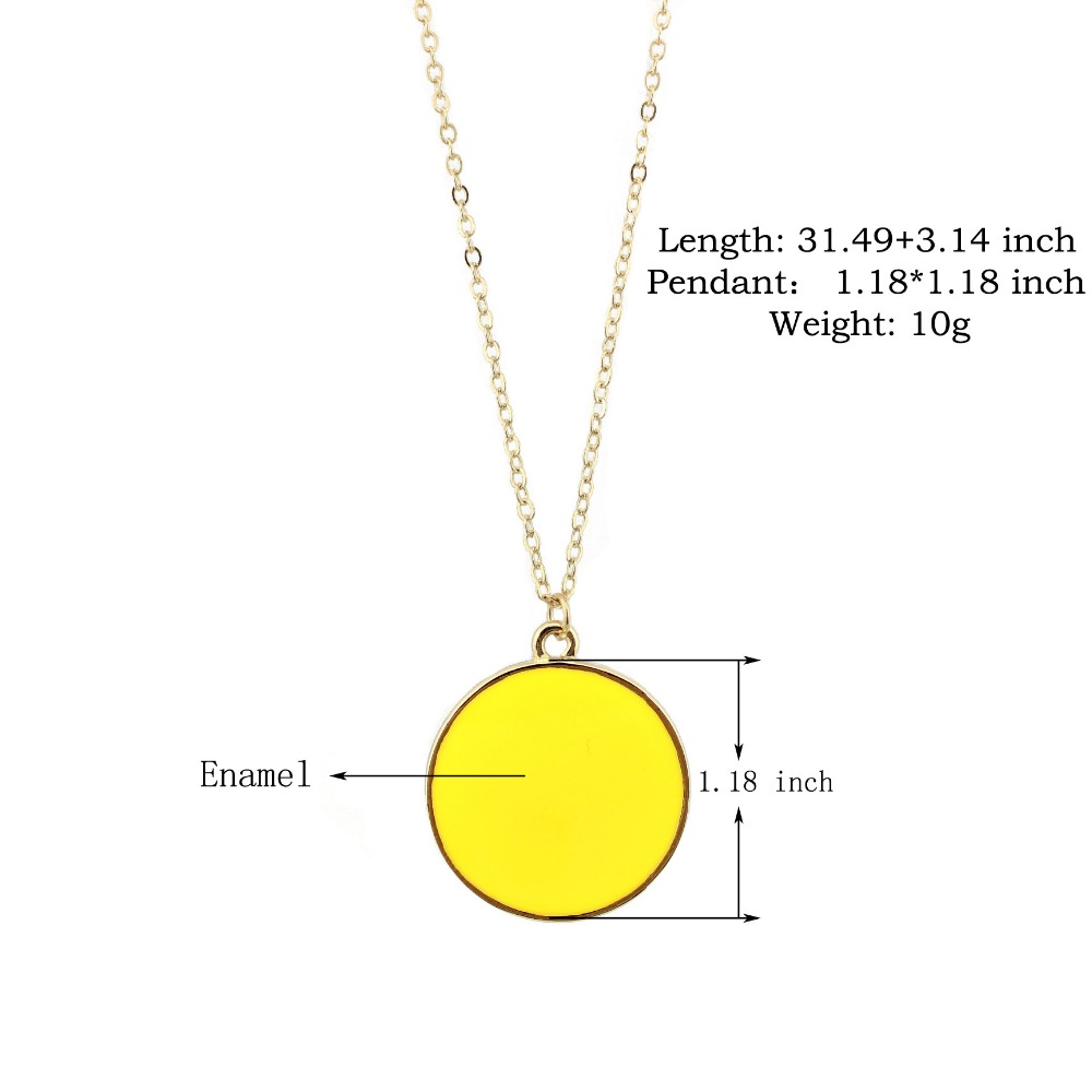 ZWPON New Monogram Enamel Blank Disk Disc Necklace Gold Fashion Women Medal Necklace Jewelry Wholesale