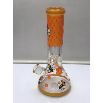 Glass Beaker Bongs with Beautiful Orange Bees Pattern
