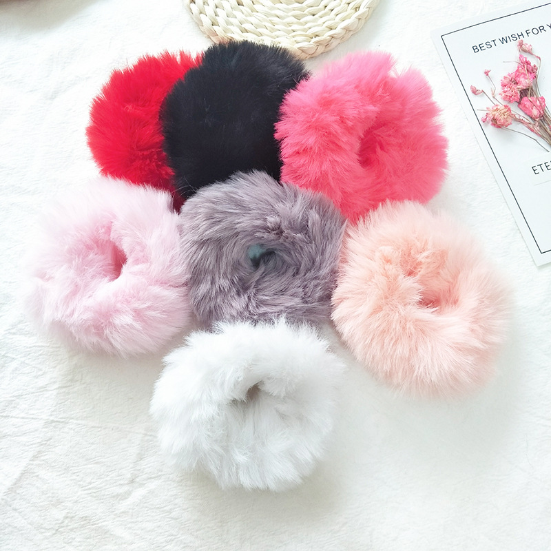 New Solid Color Girls Plush Scrunchie Hair Rope Women Ponytail Holder Rubber Band Elastic Hair bands Hair Ring Hair Accessories