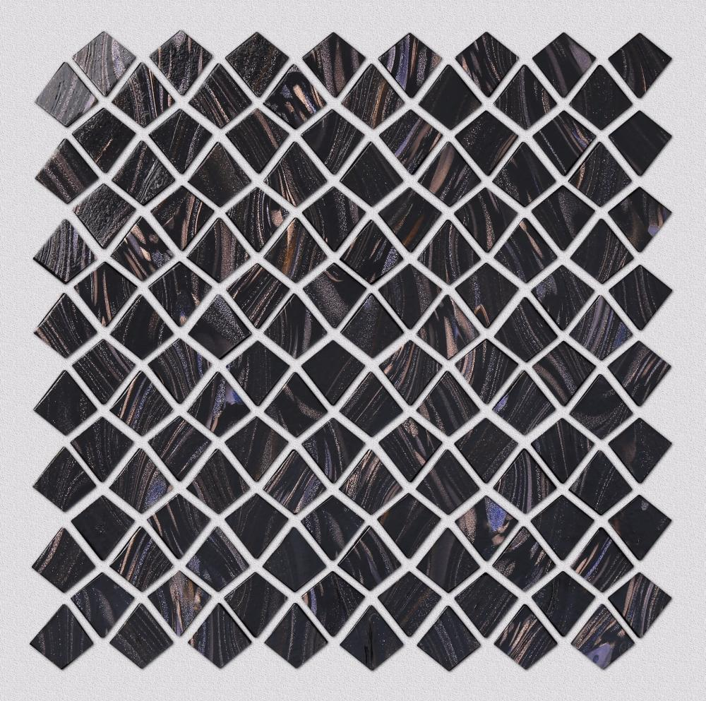 Black Irregular Pattern Glass Mosaic