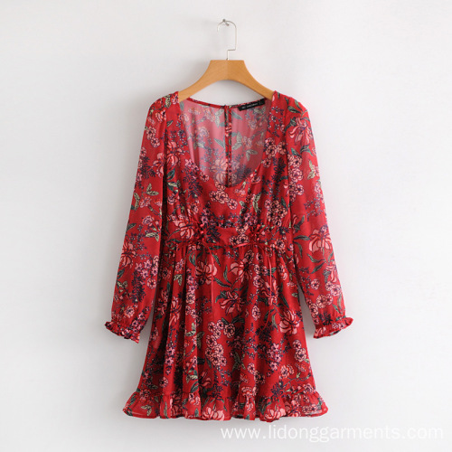 Women Clothing Flower Printing Loose Dress with Bow