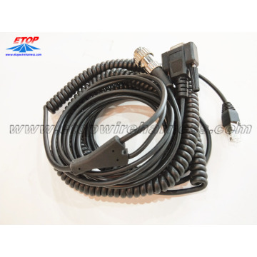 Coiled RJ45 cable to DB9 and 4pin connector