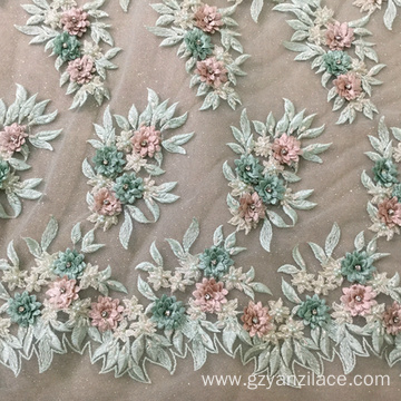 Light Green 3D StoneTulle Embroidery Fabric