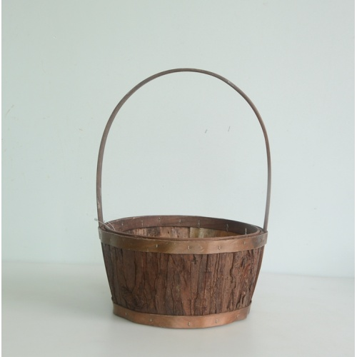 Round nature wood bark handicraft gift basket