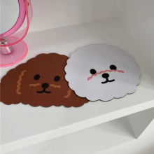 Dropshipping Ins Cartoon Dog Mouse Pad Simple White Color Rubber Mouse Mat For Girl Computer Game