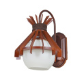 Bedside hotel wood glass wall sconce lamp