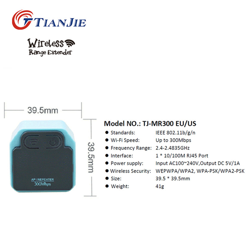 TianJie Wireless WiFi Repeater Wifi Extender 300Mbps Wi-Fi Amplifier 802.11N/B/G Booster Repetidor Wi fi Reapeter Access Point