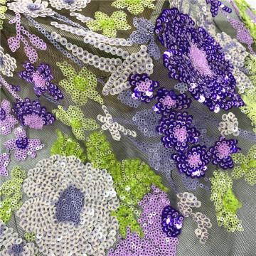 Summer  Violet Sequin  Embroidery Fabric