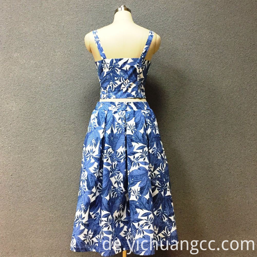 Women's cotton blue leaf top + dress