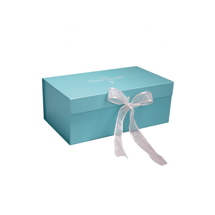 Customized Flat Folding Gift Magnetic Box With Ribbon