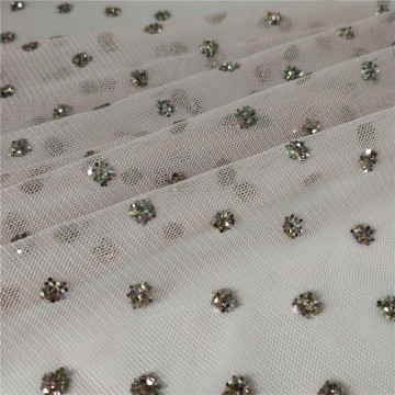 New design hexagonal tulle fabric with sequin patterns