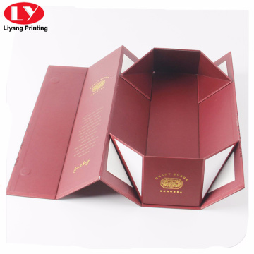 Red collapsible single bottle folding wine box