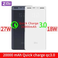 ZMI Powerbank Power Bank 20000 MAh Quick Charge QC3.0 Xiao mi Battery Dual USB 27W 20000mah QB822 For iPhone iPad Laptop