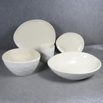 Ceramic Reactive Crackleglaze Dinnerware Set Ivory White