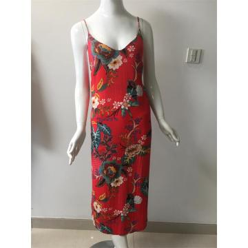 Printed Viscose Dress in Color Red