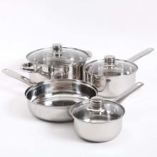 7-Piece Mirror Polished Stainless Steel Cookware Set