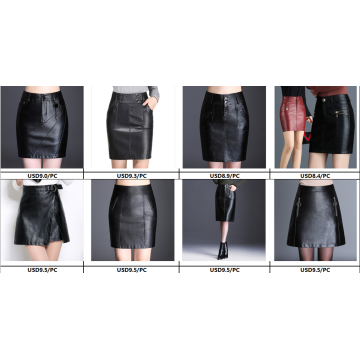 Women Sexy PU Leather Long Vent Skirt Dress
