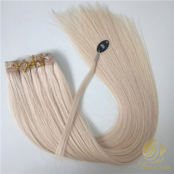 Custom white #60A clip in hair extensions