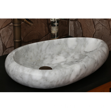 Guangxi  half-drop ​white marble sink