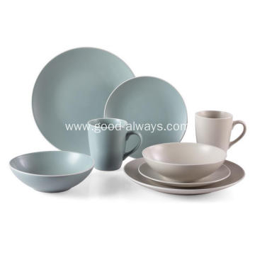 16 Pieces Stoneware Dinnerware Set With White Rim