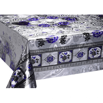 Double Face Emboss printed Gold Tablecloth blue
