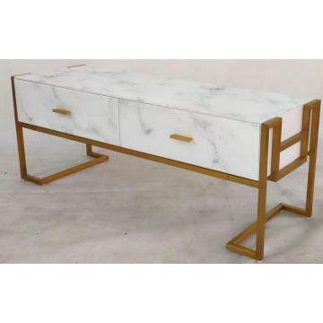 TV Unit White Marble Glass Metal Frame