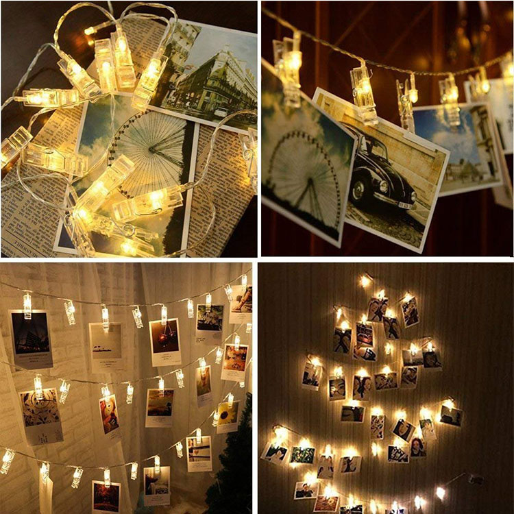 led metal photo clip string lights