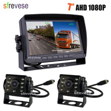 "7"" IPS HD DVR Recording 2CH Split 4Pin Car Rear View Monitor + 2x Waterproof AHD 1080P Reversing Backup Camera For Bus Truck"