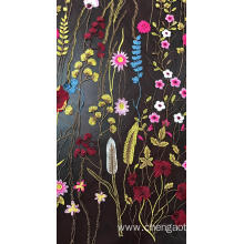 Multicolored Flowers Mesh Embroider Fabric