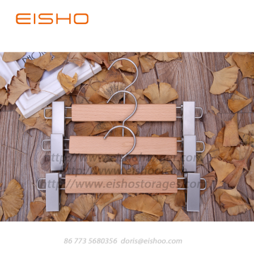 EISHO Solid Wood Anti-Slip Trouser Clamp Hanger